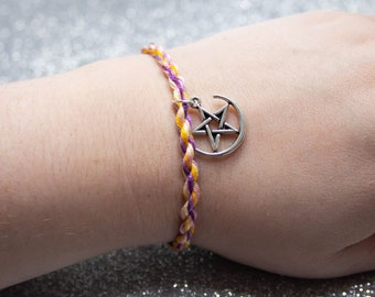 Trixic Flag Friendship Bracelet with Star and Moon Charm, LGBT Pride Adjustable Anklet, Unique Gift, Queer Pride Month, Trixic Pride Jewelry