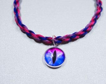 Bisexual Flag Friendship Bracelet with Pink and Blue Dragon Eye Charm -  LGBTQ Pride - Pink Blue Purple - Adjustable - Bisexual Pride