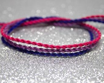 Bi Flag Twist Bracelet Set, LGBTQ Pride Friendship Bracelet, Adjustable Ankle Bracelet, Pink Purple Blue, Gift for Him, Bisexual Pride