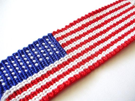 Mini American Flag Woven Friendship Bracelet Red and Blue White