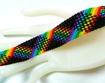 Rainbow and Black, Plaid Friendship Bracelet, Adjustable Bracelet, Bracelet for Men, LGBT Pride Jewelry, Neon Rainbow, LGBT Pride Month