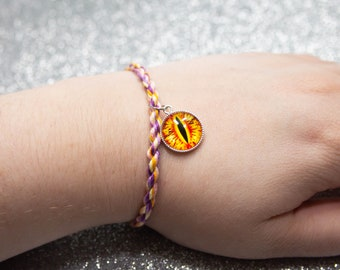 Trixic Flag Friendship Bracelet Yellow and Red Dragon Eye Charm, LGBT Pride Adjustable Anklet, Unique Gift for Friend, Trixic Pride Jewelry