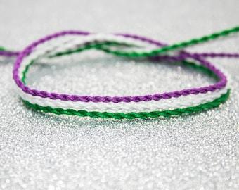 Genderqueer Flag, Twist Bracelet Set, LGBTQ Pride, Friendship Bracelet, Adjustable Anklet, Genderqueer Flag, Queer Pride Month, Unique Gift
