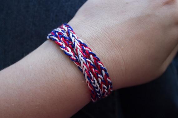 US Flag American Friendship Bracelet France Bracelet US Bracelet Red Unisex Bracelet Red Blue Bracelet Man Braided Bracelet