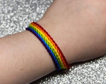 Rainbow Twist Bracelet Set, LGBTQ Pride Friendship Bracelet, Adjustable Ankle Bracelet, Neon Rainbow Jewelry, Gift for Him or Her, LGBTQIA