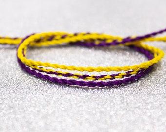 Intersex Flag Twist Bracelet Set, LGBTQ Pride Friendship Bracelet, Adjustable Ankle Bracelet, Yellow Purple, Intersex Pride