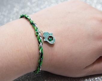 Aromantic Flag Twist Bracelet Green Hand of Fatima Charm, LGBT Pride Adjustable Anklet. Aromantic Pride, Aroace, Queer Pride Month