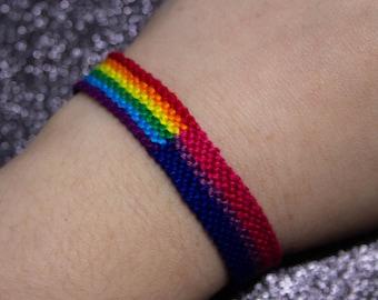 Rainbow Flag, Bisexual Flag, Friendship Bracelet, LGBT Pride Bracelet, Adjustable Anklet, Unique Gift, Queer Pride Shop, Bisexual Pride,