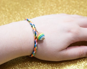 Queer Flag Friendship Bracelet with Rainbow Charm, LGBT Pride Adjustable Anklet, Queer Pride Month, Unique Gift for Teen, Pastel Rainbow