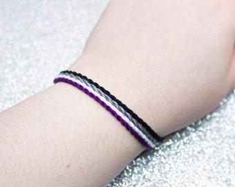 Asexual Flag Twist Bracelet Set, LGBTQ Pride Friendship Bracelet, Adjustable Anklet, Ace Pride Flag, Demisexual Flag Jewelry, Queer Owned