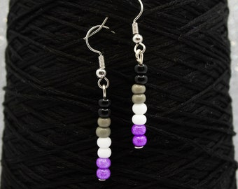 Asexual Pride Beaded Earrings, Unique Gift for Her, Fun Dangle Earrings, Birthday Gift, Demisexual Flag, LGBT Pride Jewelry, Ace Flag