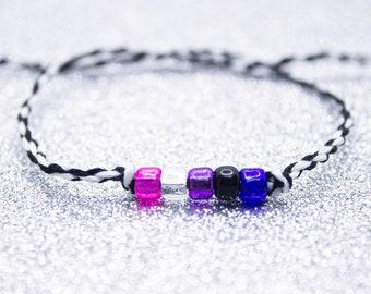 Genderfluid Flag Beaded Wish Bracelet, LGBT Pride Friendship Bracelet Beads,  Genderfluid Pride, Unique Gift for Best Friend, Adjustable