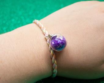 Pastel Rainbow, Friendship Bracelet, Purple Glitter, Potion Bottle Charm Adjustable Anklet, Unique Gift for Best Friend, LGBT Pride Month