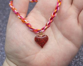 Sunset Lesbian Flag, Red Glitter Heart Charm, Rope Bracelet, Lesbian Pride, LGBT Pride Bracelet, Unique Gift for Her, Queer Pride Month