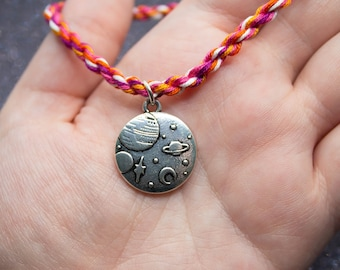 Sunset Lesbian Flag, Planets Charm, Friendship Bracelet, Lesbian Pride, LGBT Pride Bracelet, Unique Gift for Her, Queer Pride Month, Space