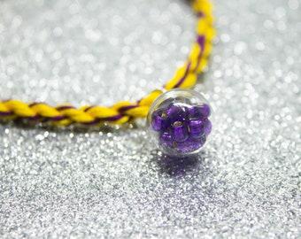 Intersex Flag, Rope Bracelet, Purple Beads, Potion Bottle Charm, LGBT Pride Bracelet, Intersex Pride, Queer Pride Month, Friendship Bracelet