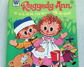 Vintage Raggedy Ann and Andy coloring 1970s book UNUSED