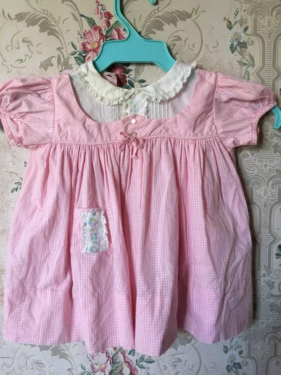 Vintage 1950s/60s pink gingham Nannette dress  6-1