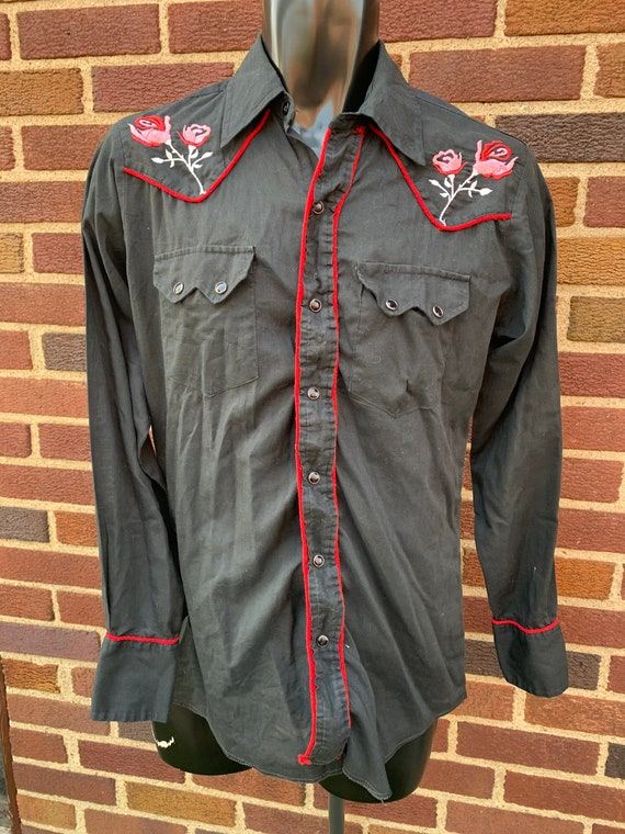 Men's Vintage Rockabilly Rose Embroidered Western