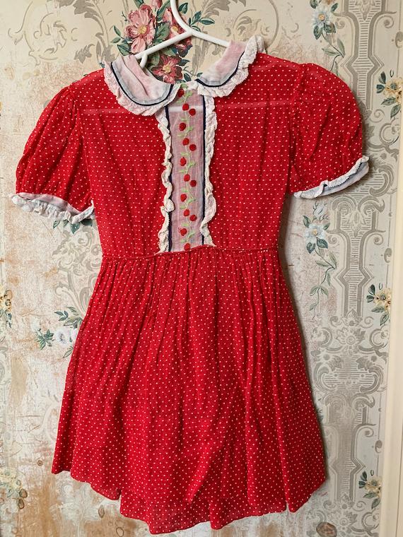 Girls Vintage 1950s Red Sheer Swiss Dot Cherry Dre