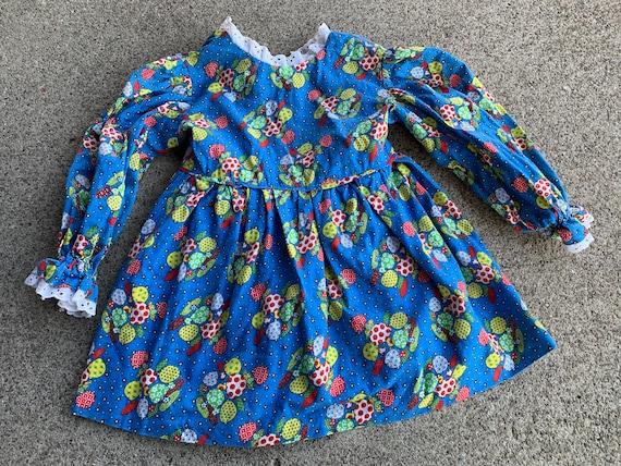 Girls Vintage 70s Mushroom Dress 2T