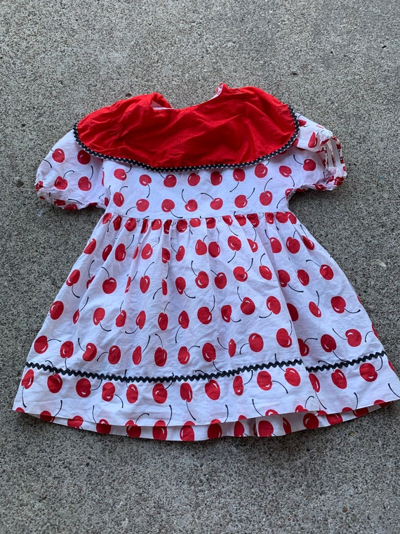 Girls Vintabe Handmade 50s Cherry Print dress 2t