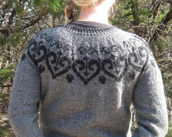 A Texas Girl Knits | Ironheart Pullover | Valentine Sweater Jumper Fair Isle Stranded Colorwork Knitting Pattern PDF Download Chart Written