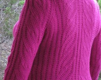 A Texas Girl Knits | Raspberry Swirl Pullover | Sweater Jumper Garter Stitch Knit Purl  Knitting Pattern PDF Download Charted Written