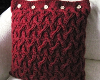 A Texas Girl Knits | Irene Adler Pillow | Sherlock Holmes Cables Knit Purl Knitting Pattern PDF Download Charted Written