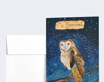 """GREETING CARDS, Ms. Barnowl, Owl, Watercolor, 5"""" x 7"""", pack of 6"""