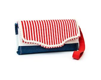 Nautical accordion Wallet, Nautical stripes, Cotton, 12 cards slots, zipper pockets, women wallet, cross-body strap on request