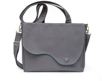 Elegant messenger and tote shoulder bag in grey soft cord and blue cotton lining