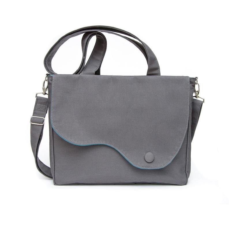 Elegant messenger and tote shoulder bag in grey soft cord and image 0