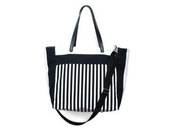 Grace Tote Bag, Diaper Bag, Shopper, Carry all tote, Beach Bag,13 pockets, Black & white stripes, cotton, faux leather straps, summer purse