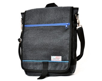 Dani, the Unisex messenger bag and backpack. Grey Wool-Polyester mix with blue details and lining. Multiple pockets. Everyday purse