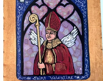 Saint Valentine Gift for lover Catholic St Valentine gift retablo angel wings stained glass religious Spanish colonial