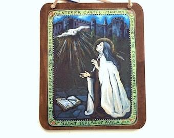 St Teresa of Avila Saint Teresa Catholic saints wood wall plaque Mexican folk art retablo confirmation gift for teen girl