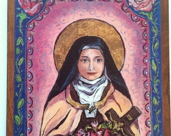Wood wall plaque St Therese of Lisieux Inspirational wall art Family gift Saint Therese Retablo spanish colonial mexican folk art retablos