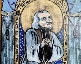 St John Vianney Fathers Day gift Retablo Spanish Colonial Art Catholic saint for priests