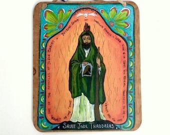 St. Jude patron saint of hopeless causes small wood wall plaque Christian Catholic gift Retablo Spanish Colonial Art Mexican folk art