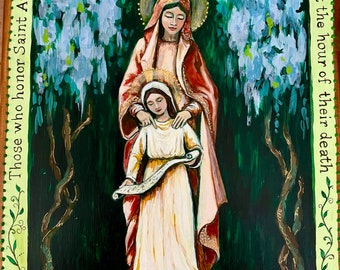 Saint Anne and the Blessed Mother Mary mother and daughter gift catholic saints catholic art Christian St Ann print