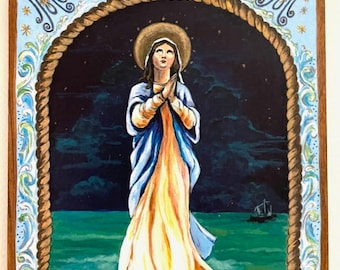 Our Lady Star of the Sea Stella Maris Blessed Mother Mary Holy Mary sailing gift gift for sailor beach lover catholic art