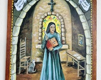 St Julian of Norwich English Mystic Catholic saint writer gift catholic art cat lover