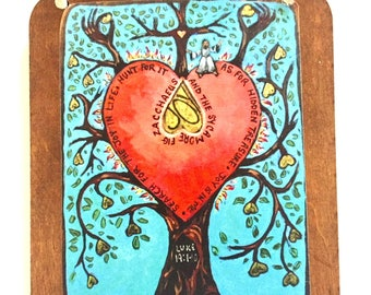 Tree of life wooden wall plaque painting small unique wedding gift for couple confirmation gift christian religious art retablo art4thesoul