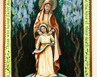 Saint Anne and the Blessed Mother Mary mother and daughter gift catholic saints catholic art Christian St Ann hand painted