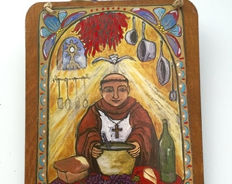 kitchen saint culinary retablo retablos san pasqual pasquale foodie gift for Cook chef baker Chef gift Food Gift - Spanish Colonial Art