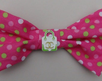 Boutique Couture Hand Bag Diva Dog Bows or Child Hair Bows - Dog Collar Bows Accessory
