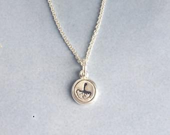 Silver ginkgo leaf charm necklace, Dainty necklace, Leaf charm necklace, Birthday gift, Graduation gift