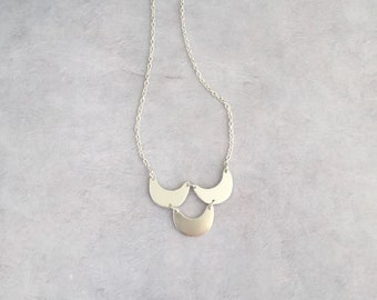 Sterling silver long pendant, Half moon necklace, Crescent moon necklace, Long layering necklace