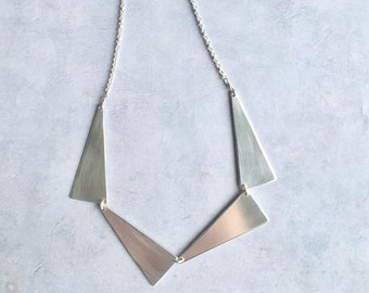 Geometric statement necklace, triangle long pendant necklace in sterling silver